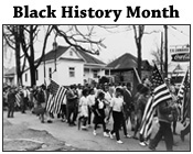 Black and white photo of participants in the Selma to Montgomery marches with the text Black History Month