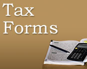 Image of paper, pen, and calculator with the text tax forms