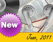 Photo collage of books, CDs, and earphones with the text New June, 2011.