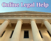 Photo of a court house with the text Online Legal Help