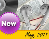 Photo collage of books, CDs, and earphones with the text New May, 2011.