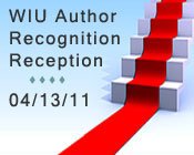 Illustration of red carpet with the text WIU Author Recognition Reception 04/13/11.