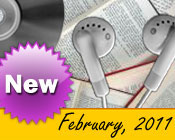 Photo collage of books, CDs, and earphones with the text New February, 2011.