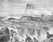 Generic Civil War image – battlefield scene with an early American flag waving in the background.