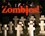 Photo of a graveyard with the text Zombies!