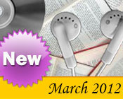 Photo collage of books, CDs, and earphones with the text New March, 2012.