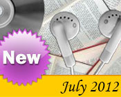 Photo collage of books, CDs, and earphones with the text New July, 2012.