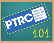 Illustration of a chalkboard with the Patents & Trademarks Resource Center logo and the text 101