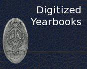 Closeup of a yearbook cover with the text Digitized yearbooks