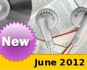 Photo collage of books, CDs, and earphones with the text New June, 2012.