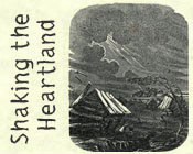 Illustration of an earthquake on a small old farm with the text Shaking the Heartland