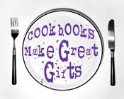 Photo of a plate, fork and knife with the text Cookbooks Make Great Gifts