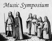 A diagramatic illustration of the Coronation Procession for James II and the text Music Symposium