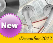 Photo collage of books, CDs, and earphones with the text New December, 2012.