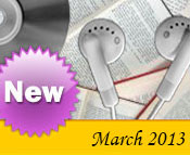 Photo collage of books, CDs, and earphones with the text New March, 2013.