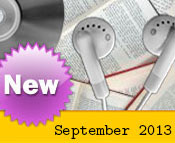 Photo collage of books, CDs, and earphones with the text New September, 2013.