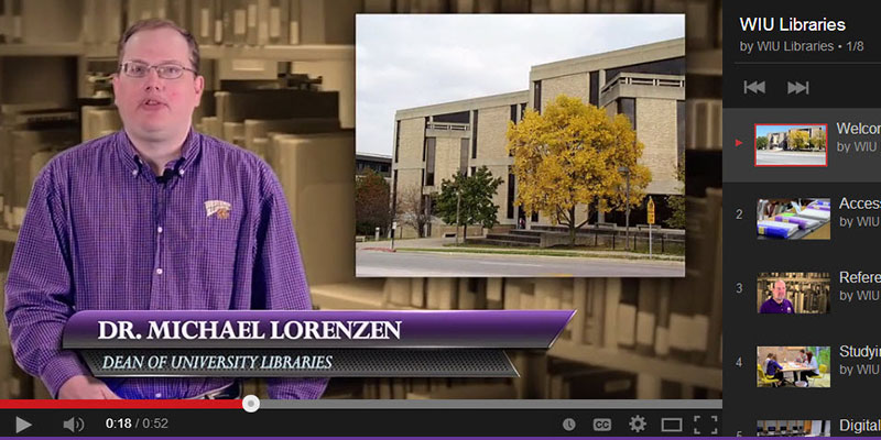 Screenshot of Dean Lorenzen in WIU Libraries welcome video