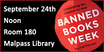 Stop sign graphic with text saying: Celebrating the freedom to read Banned Books Weeek