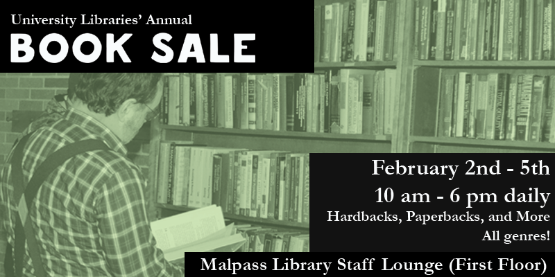 Picture of man in reading a book in front of bookshelf full of books. Text on picture with Book Sale details