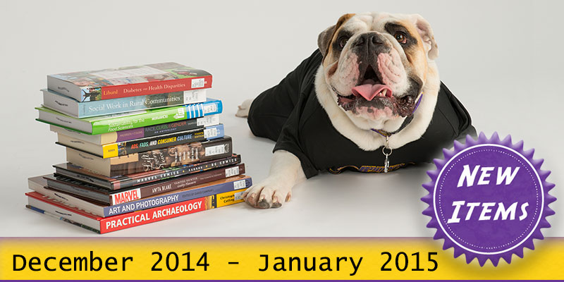 Photo of Col. Rock mascot with books with the text New December 2014 - January 2015.
