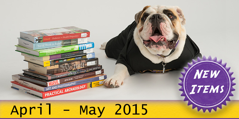 Photo of Col. Rock mascot with books with the text New April - May 2015.