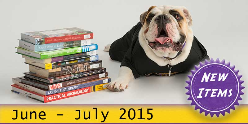 Photo of Col. Rock mascot with books with the text New June - July 2015.