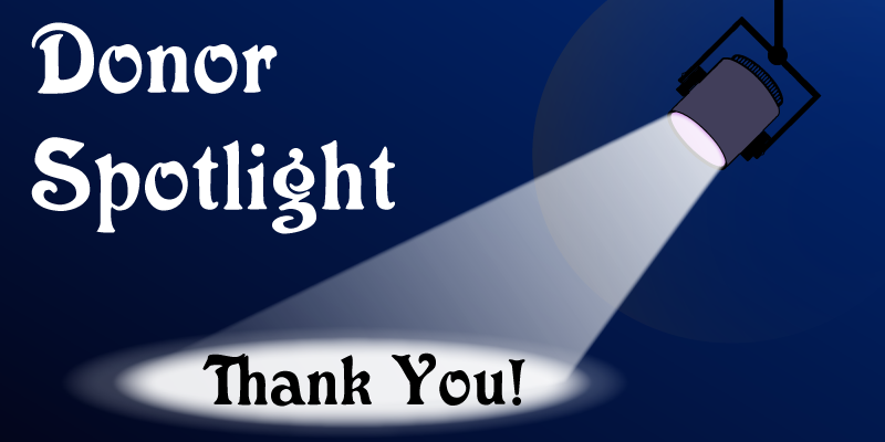 Donor spotlight banner image with spotlight shining on text that says Thank You.