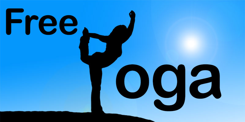 Graphic with silhouette of girl doing Yoga. Free Yoga text.