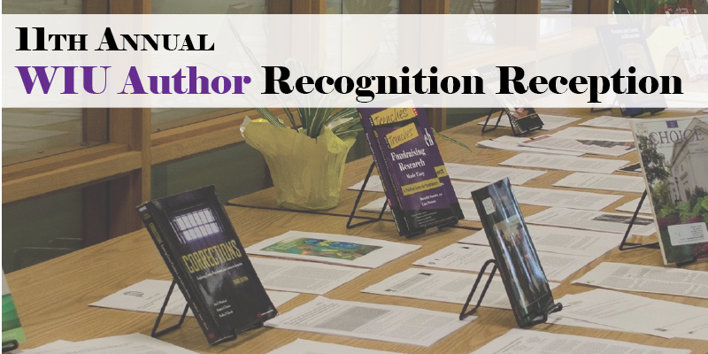 Picture of table with books and text overlay 11th Annual Authors Recognition Reception