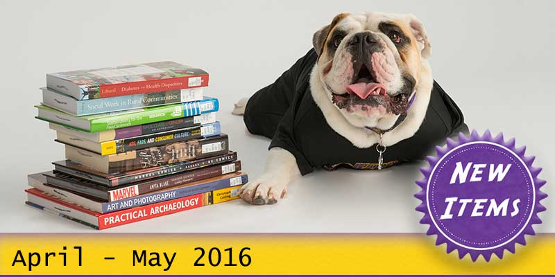 Photo of Col. Rock mascot with books with the text New April - May 2016.