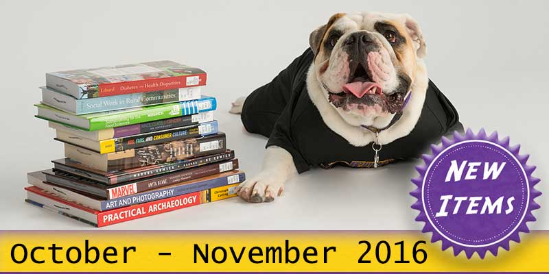Photo of Col. Rock mascot with books with the text New October - November 2016.