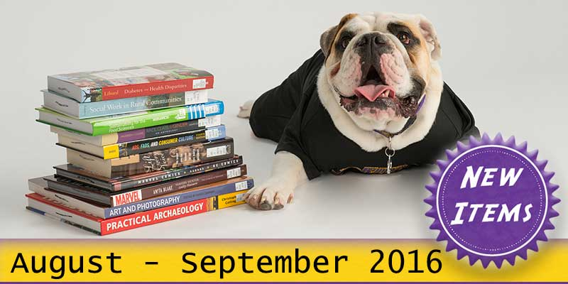 Photo of Col. Rock mascot with books with the text New August - September 2016.