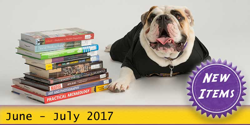 Photo of Col. Rock mascot with books with the text New June - July 2017.