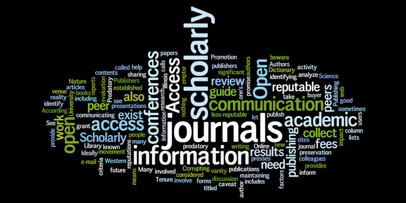 Image of a word collage related to scholarly communication.