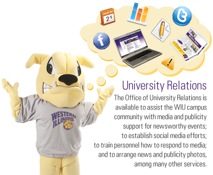 University Relations assists with media and publicity support, establishing social media efforts, training in responding to media inquiries, and arranging news and publicity photos.