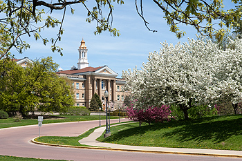 Sherman Hall in the Spring.