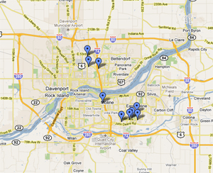 Map of student housing options available to WIU-QC students
