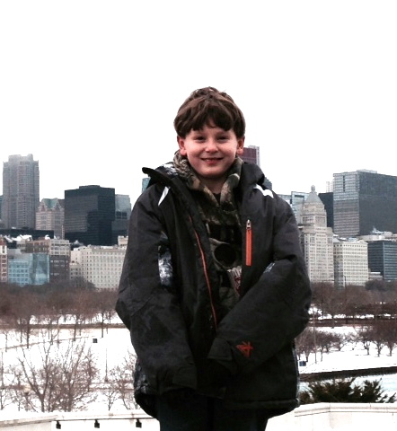 boy and cityscape