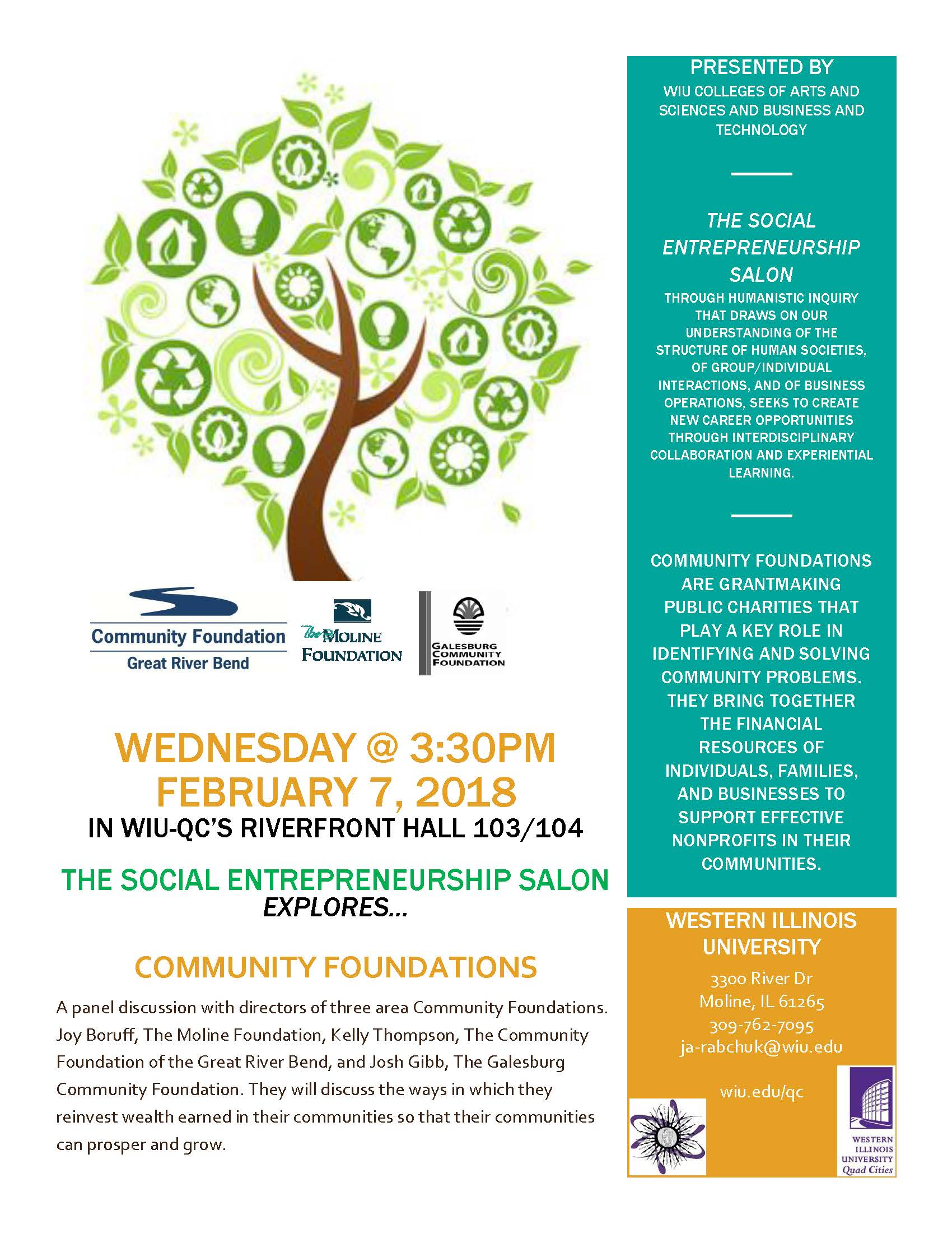 Social Entrepreneurship Salon. Wednesday, February 7, 2018, at 3:30 p.m. in the WIU-QC's Riverfront Hall 103/104.