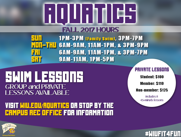 Aquatics Hours Center Fall 2017