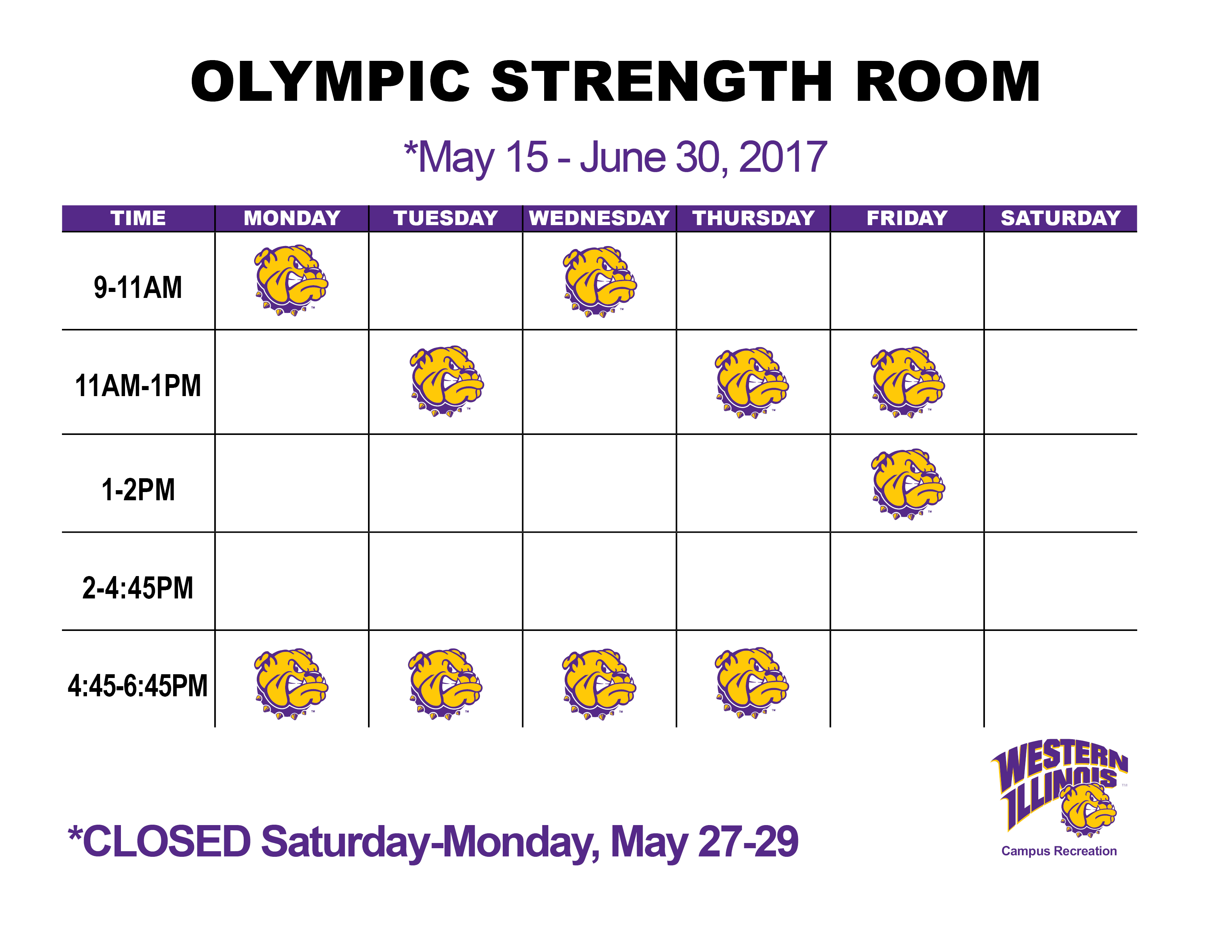 Olympic Strength Room Hours May 15-June 30, 2017