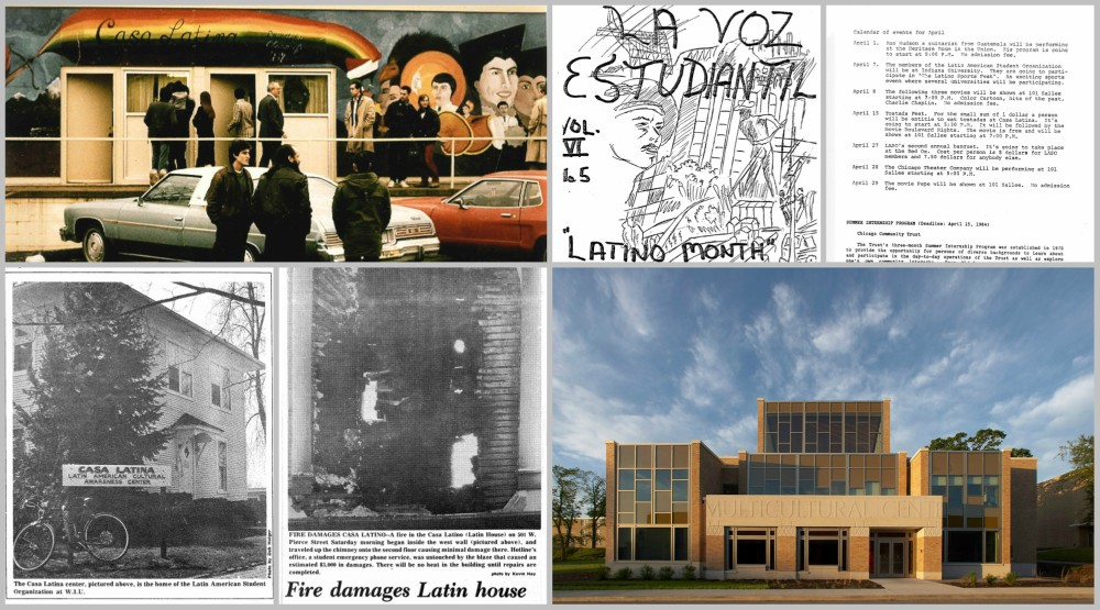 a college of photos. 1 students in front of the old casa building, observing the mural. 2 the cover of the old student magazine la voz 3 calendar of events from la voz 4 the first casa house 5 newspaper image of the fire damage on the old casa house 6 the front of the multicultural center