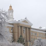 Photo of Sherman Hall covered in snow