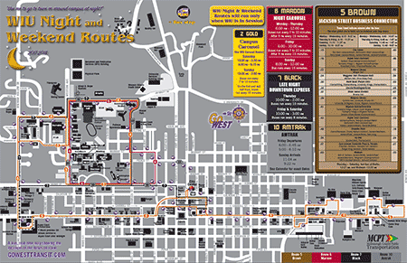 Map of WIU Nights and Weekend Routes