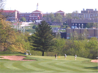 View of Western Illinois campus from the golf course