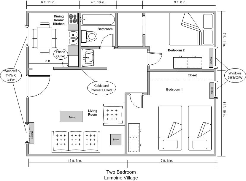 Lamoine Two Bedroom Furnished Floor Plan