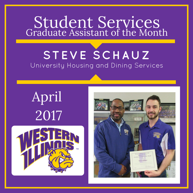 Graduate Assistant of the Month - Steve Schauz, University Housing and Dining Services