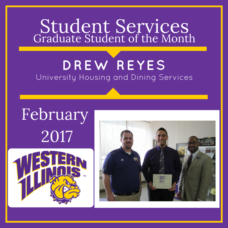 Graduate Student of the Month - Drew Reyes, University Housing and Dining Services