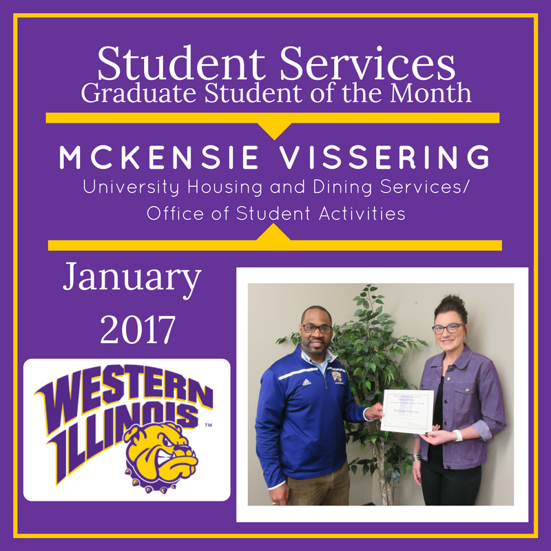 Graduate Student of the Month - McKensie Vissering, University Housing and Dining Services/Office of Student Activities