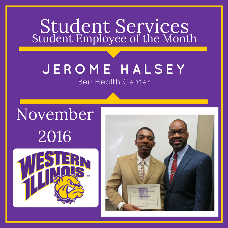 Student Employee of the Month - Jerome Halsey, Beu Health Center